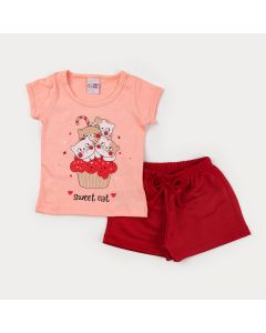 Conjunto de Verão Blusa Salmão Gatinhos e Short Vermelho para Menina
