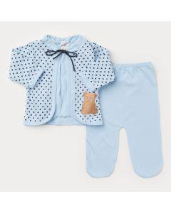 Saída de Maternidade Azul para Bebê Menino Aplique de Ursinho