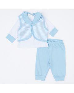 Saída de Maternidade para Bebê Menino Blusa Branca Colete Listrado e Calça Azul