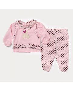 Saída de Maternidade para Bebê Feminina Blusa Rosa com Bolinha e Calça com Pezinho