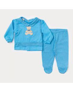 Saída de Maternidade para Bebê Masculina Blusa Azul com Bolinha e Calça com Pezinho