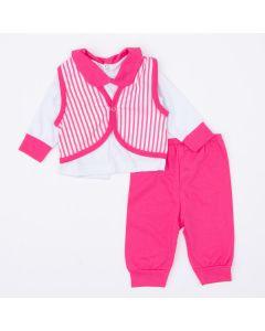 Saída de Maternidade para Bebê Menina Blusa Branca Colete Listrado e Calça Rosa