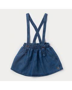 Saia Jeans Infantil Feminina Azul com Suspensório