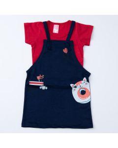 Jardineira Marinho de Verão com Blusa Vermelha para Menina