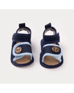 Sandália Azul Marinho para Bebê Menino Âncora