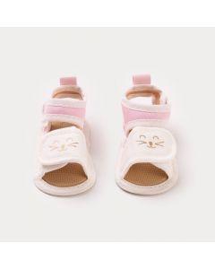 Sandália para Bebê Menina Marfim com Rosa Gatinho