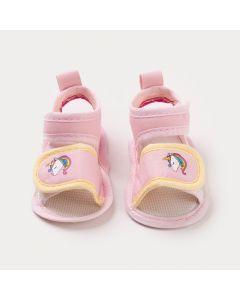Sandália Rosa para Bebê Menina Unicórnio Colorido