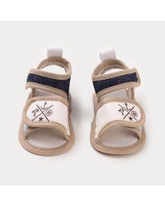 Sandália para Bebê Menino Marfim com Estampa de Âncora