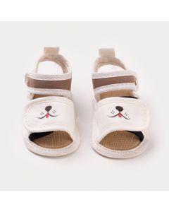 Sandália Marfim para Bebê Menino Cachorrinho