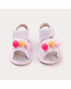 Sandália Branca para Bebê Menina com Pompom Colorido