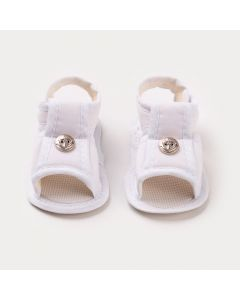 Sandália Branca para Bebê Menino Âncora