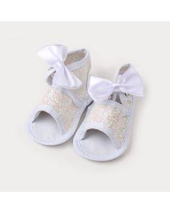 Sandália Branca para Bebê Menina com Gliter e laço