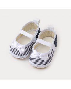 Sapatilha de Bebê Menina Marinho com Listra Branca