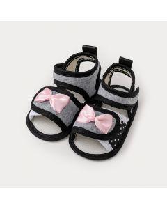 Sandália de Bebê Menina Mescla com Laço Rosa