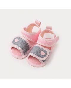 Sandália de Bebê Menina Mescla e Rosa com Detalhe de Coração