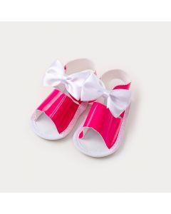 Sandália de Bebê Menina Pink com Lacinho Branco
