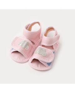 Sandália de Bebê Menina Rosa com Aplique de Nuvem
