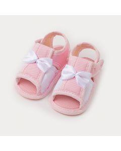 Sandália de Bebê Menina Rosa com Branco e Lacinho