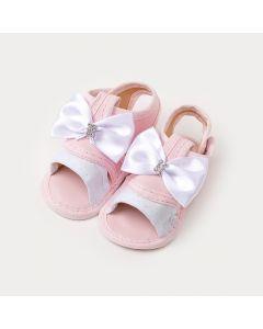 Sandália de Bebê Menina Rosa com Lacinho Branco