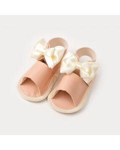 Sandália de Bebê Menina Salmão com Laço Marfim