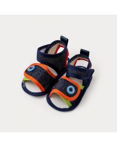 Sandália de Bebê Menino Azul Marinho com Aplique de Botão
