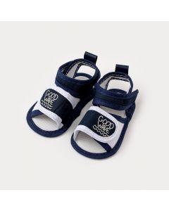 Sandália de Bebê Menino Azul Marinho com Branco