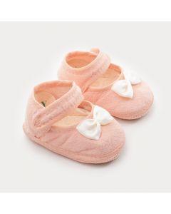 Sapatilha para Bebê Menina Rosa com Laço