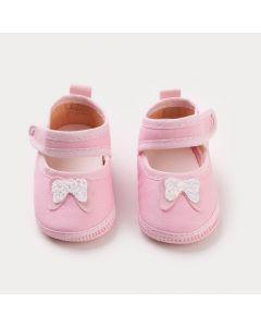 Sapatilha Rosa para Bebê Menina com Lacinho