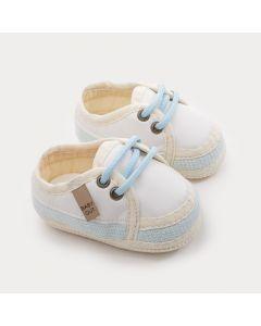 Sapatinho para Bebê Menino Azul Claro com Cadarço