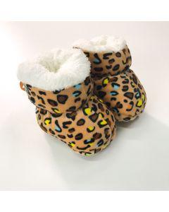 Sapatinho de Bebê Animal Print Peluciado Marfim