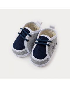 Sapatinho de Bebê Menino Azul Marinho Estampado