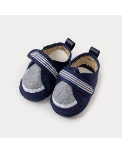 Sapatinho de Bebê Menino Azul Marinho Listrado com Velcro