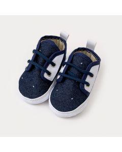 Sapatinho de Bebê Menino em Jeans Marinho