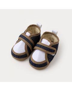 Sapatinho de Bebê Menino em Jeans Marinho e Marrom com Velcro