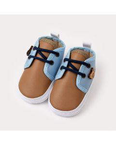 Sapatinho de Bebê Menino Marrom e Azul com Aplique de Urso