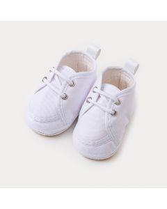Sapatinho de Bebê Unissex Branco com Cadarço