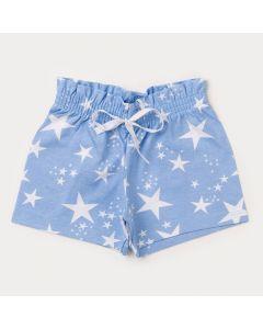 Short Azul para Menina Estrela com Fru-Fru