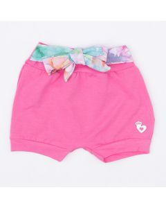 Short para Bebê Menina Rosa com Amarração na Cintura