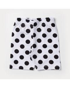Short Ciclista Branco com Bolinhas Pretas para Bebê Menina
