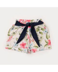 Short Amarradinho Infantil Feminino Floral Marinho