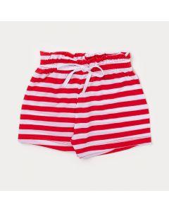 Short Feminino Infantil Listrado Vermelho e Branco com Elástico