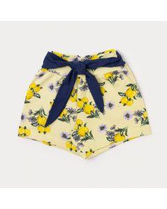 Short Menina Amarelo florido com Fita Azul Marinho