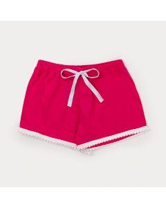 Short Infantil Feminino Pink com Pompom e Elástico