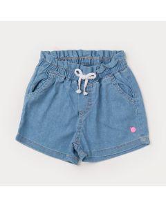 Short Jeans Azul Claro para Menina com Elástico na Cintura e Bolso de Gatinho