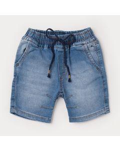 Short Jeans para Menino Azul com Bolsos e Elástico na Cintura