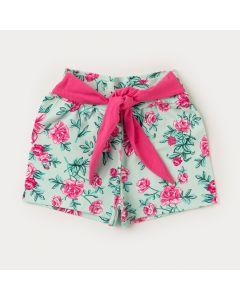 Short Amarradinho Infantil Feminino Flores Rosa