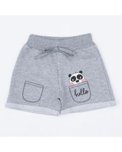 Short em Moletinho Cinza Infantil Feminino Panda