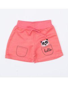 Short em Moletinho Rosa Infantil Feminino Panda