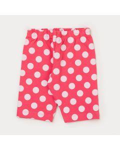 Short Ciclista Pink com Bolinhas Brancas Infantil Menina