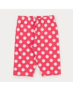 Short Ciclista Infantil Feminino Pink com Bolinhas Brancas